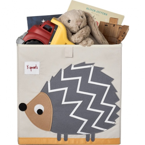 3 Sprouts Storage Box- Grey Hedgehog