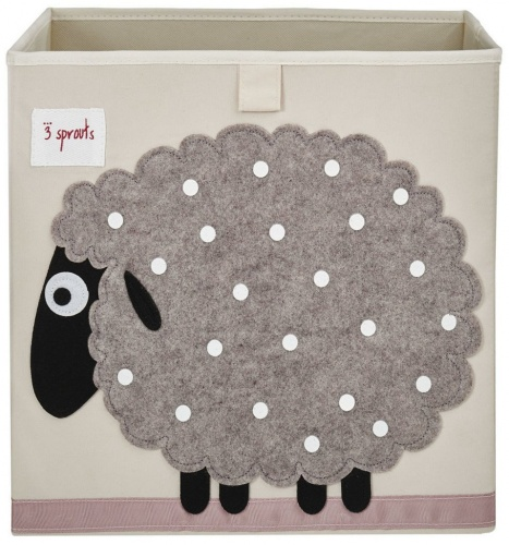 3 Sprouts Storage Box- Grey Sheep