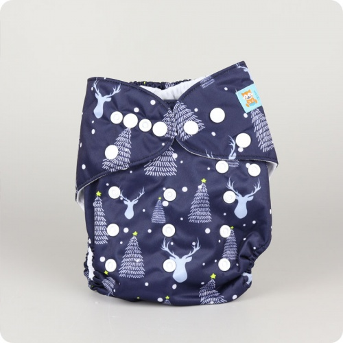 Alva Baby One Size Nappy - Midnight Reindeer