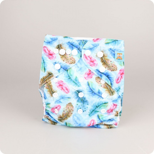 Alva Baby One Size Nappy - Blue Feathers