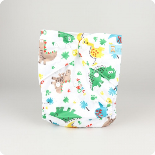 Alva Baby One Size Nappy - Jungle Dino