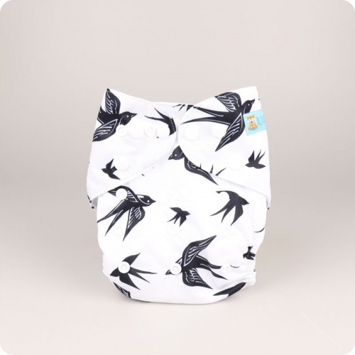 Alva Baby One Size Nappy - Monochrome Birds