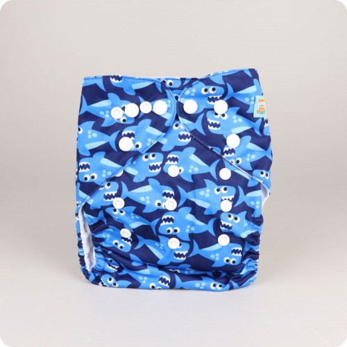 Alva Baby One Size Nappy - Shark Life