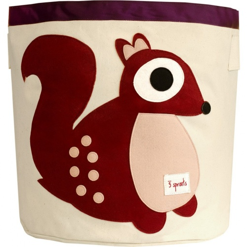 3 Sprouts Cotton Storage Bin - Berry Squirrel