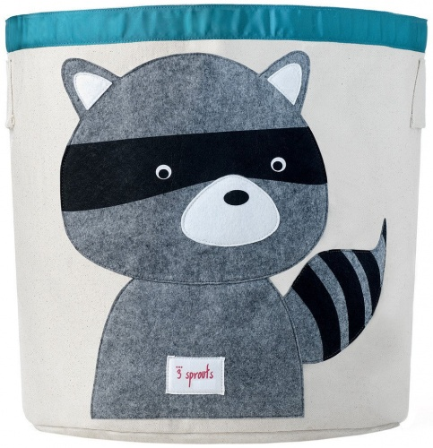 3 Sprouts Cotton Storage Bin - Grey Raccoon