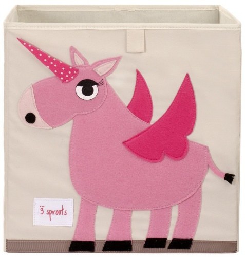 3 Sprouts Storage Box- Pink Unicorn