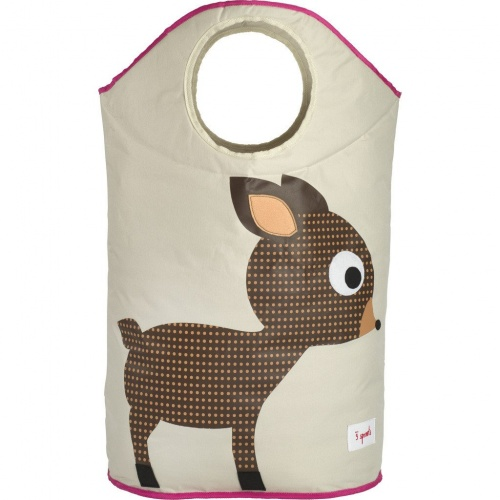 3 Sprouts Laundry Hamper - Pink Deer