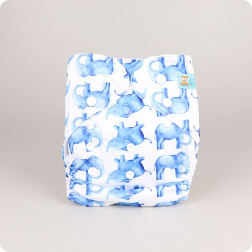 Alva Baby One Size Nappy - Elephant Blue