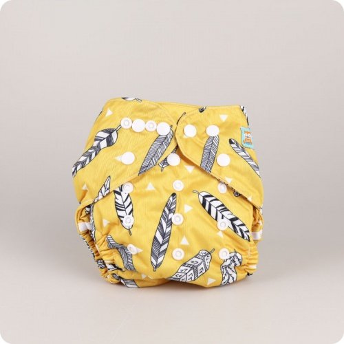 Alva Baby One Size Nappy - Feathers