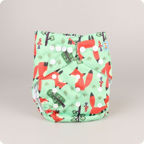 Alva Baby One Size Nappy -  Frollicking Foxes