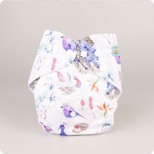 Alva Baby One Size Nappy - Flock of Feathers
