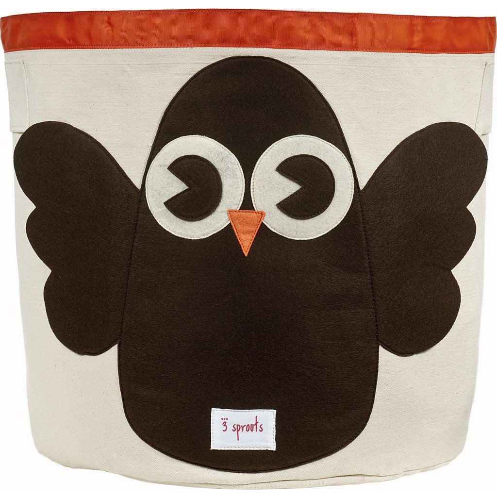 3 Sprouts Cotton Storage Bin - Brown Owl