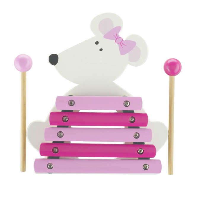 Orange Tree Wooden Pink Mouse Xylophone