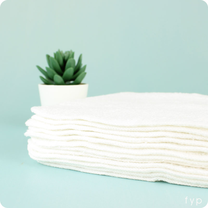 White Bamboo Reusable Wipes- 12 Pack