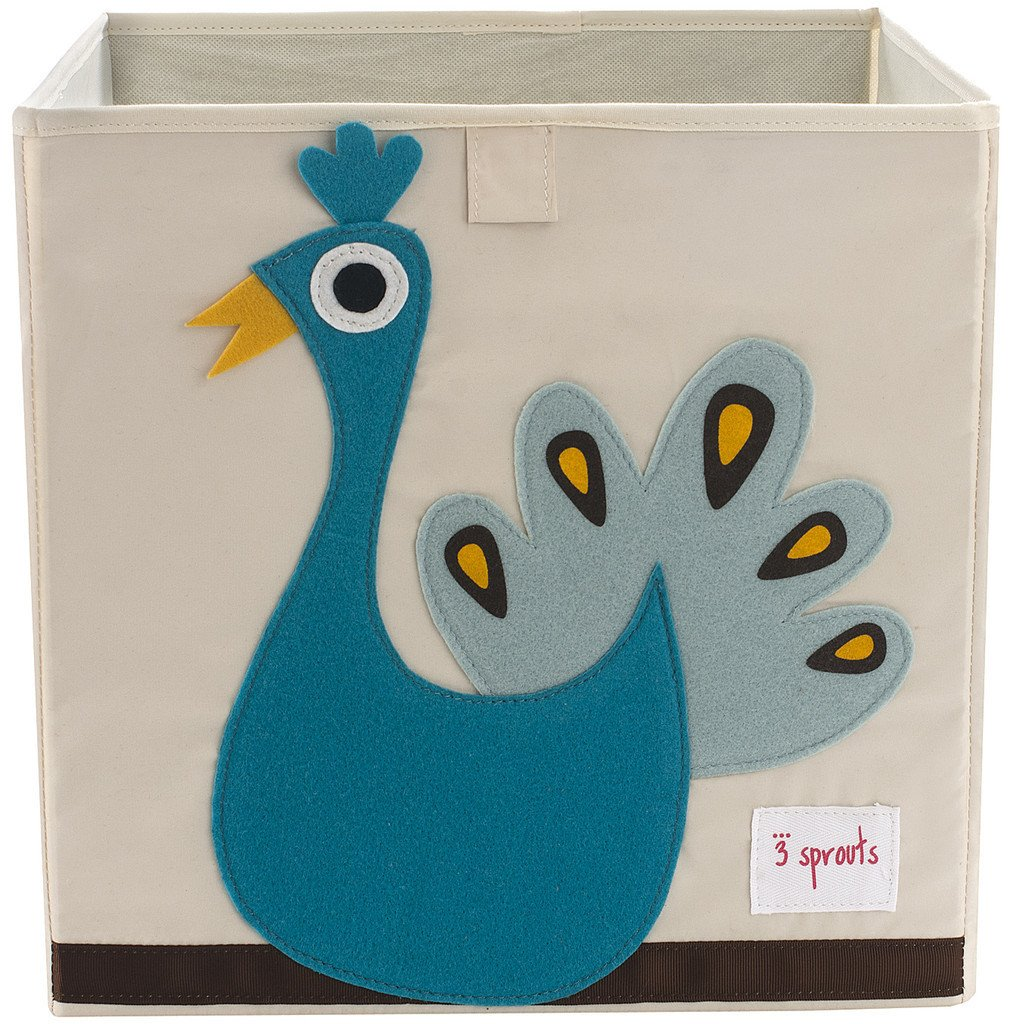 3 Sprouts Storage Box- Blue Peacock