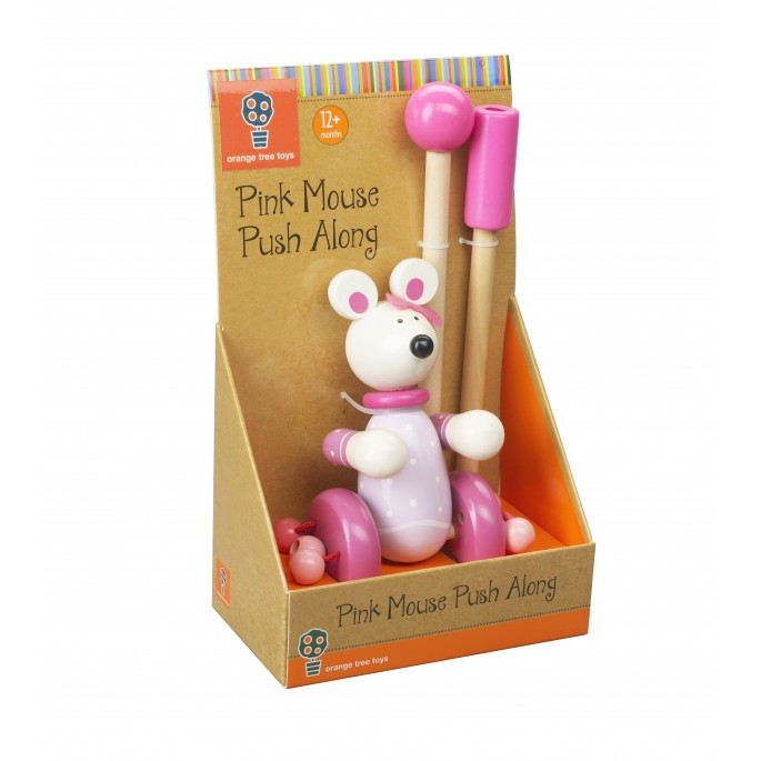 Orange Tree Wooden Pink Mouse Push Along