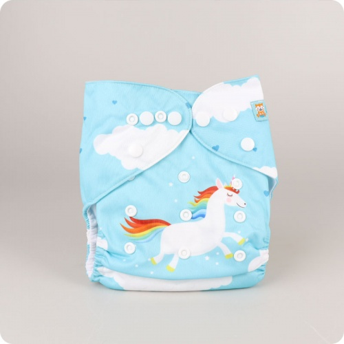 Alva Baby One Size Nappy - I Poop Rainbows