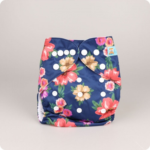 Alva Baby One Size Nappy - Navy Bouquet